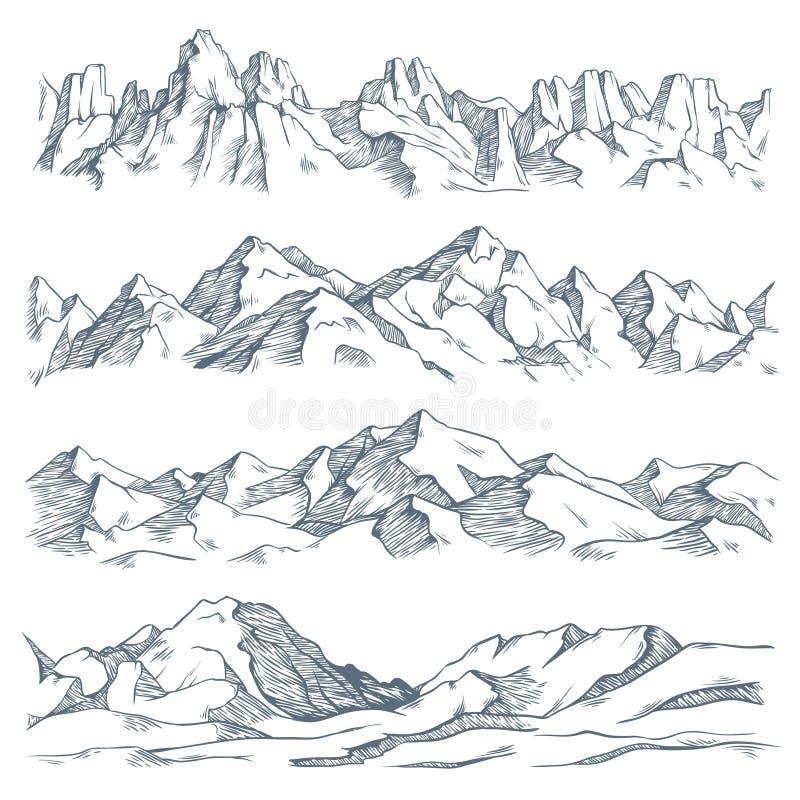 Berglandskapgravyr Den drog tappninghanden skissar av att fotvandra eller att klättra på berget Naturhöglandvektor vektor illustrationer