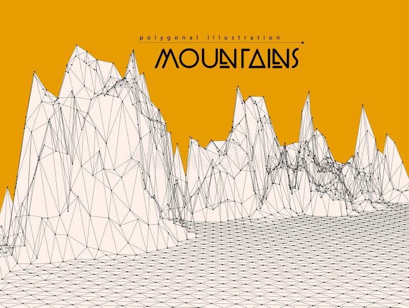 Berglandskapillustration stock illustrationer