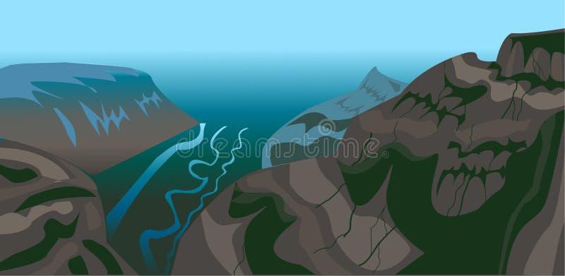 Berglandskapvektorn stock illustrationer