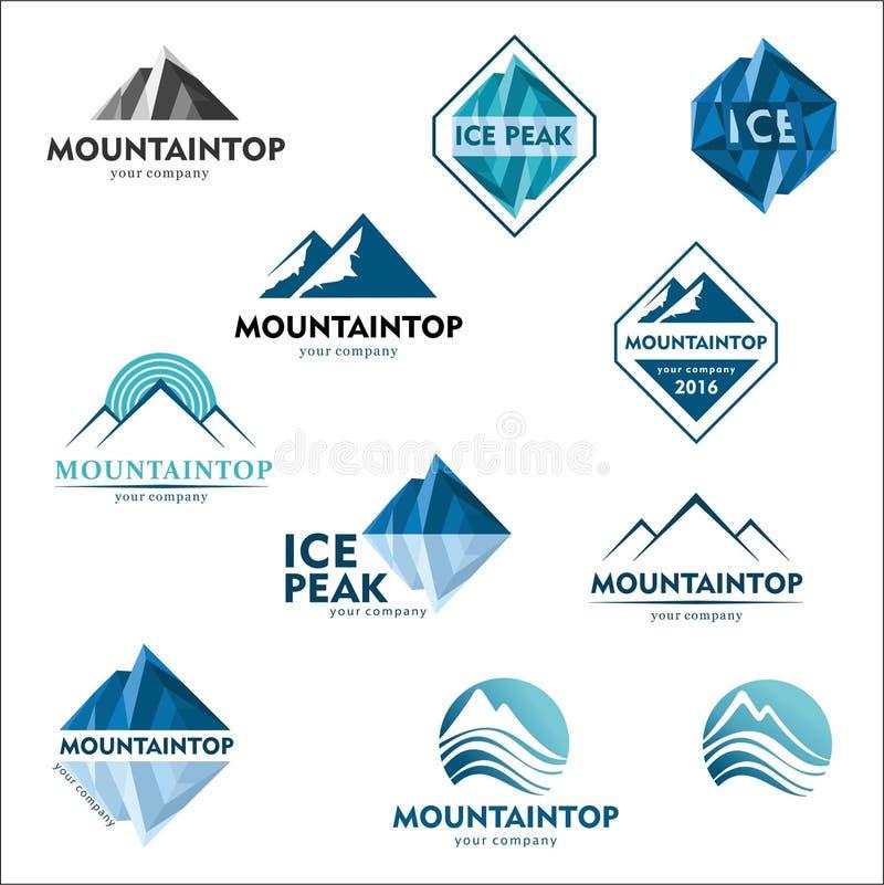 Berglogoen, vektorlogodesignen för skidar sportar, turism, aktiv fritid stock illustrationer