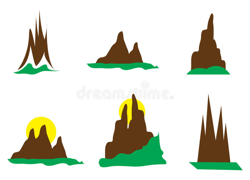 Berglogoer stock illustrationer