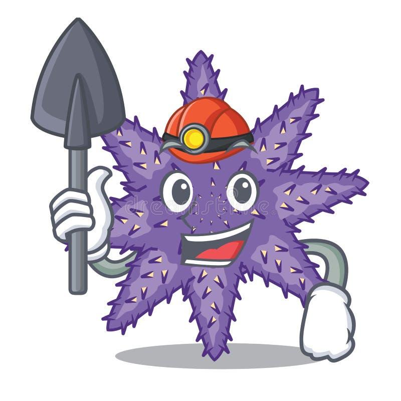 Bergmann purpurrote Starfish in der Zeichenform stock abbildung