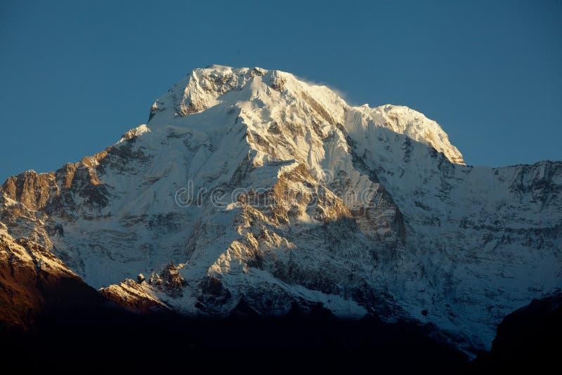 Bergmaximum Annapurna som är södra på soluppgång i Himalayas Nepal arkivbild