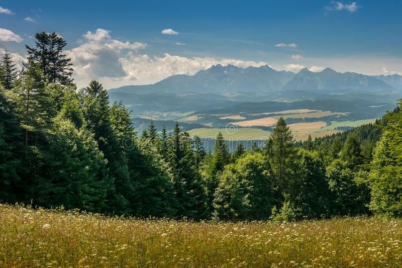 Bergmening, bergpanorama, bergrivier, reis aan de bergen stock foto