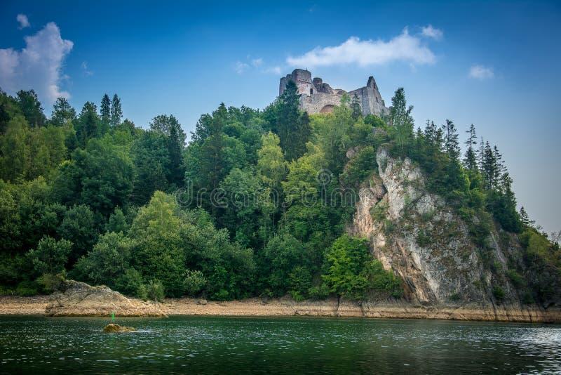 Bergmening, bergpanorama, bergrivier, reis aan de bergen, kasteel in Niedzica i Czorsztyn, kasteelmening, royalty-vrije stock foto