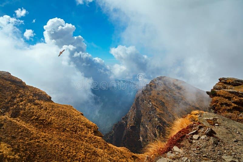 Bergmening met witte krullende wolken en een vliegende adelaar stock afbeelding