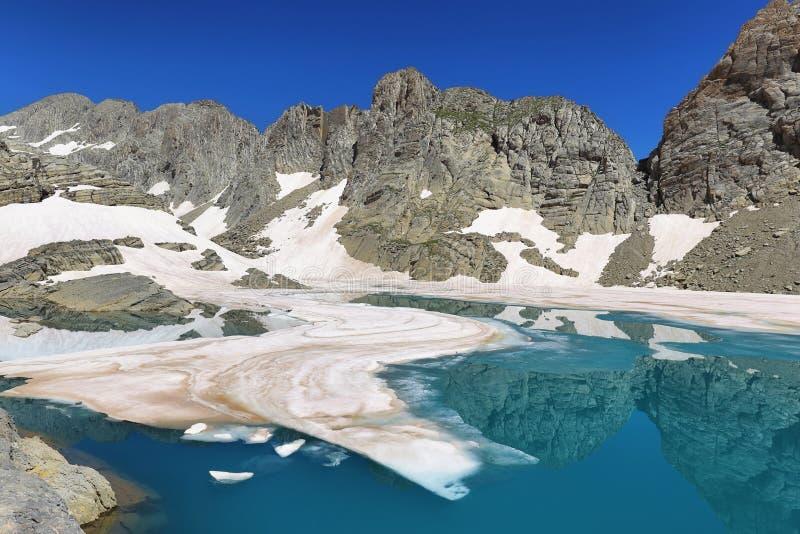 Bergmeningen van Marbore Bevroren meer in het nationale Park van Ordesa, Spanje royalty-vrije stock fotografie