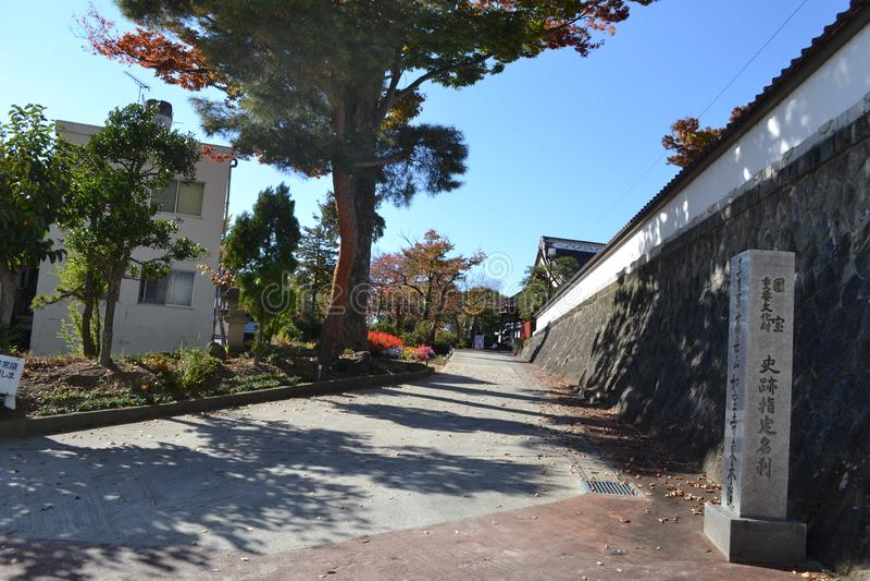 Bergopwaartse straat in Koriyama-Stad stock foto's