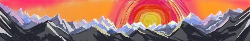 Bergpanorama schilderende, abstracte kunstbanner of kopbal van berglandschap royalty-vrije illustratie