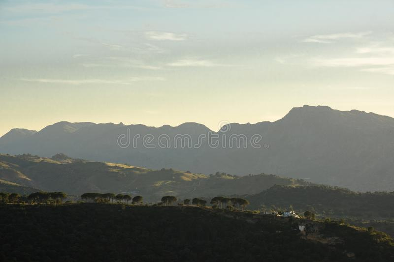 Spain Andalusia Ronda mountain panorama 4 levels blue sky royalty free stock images
