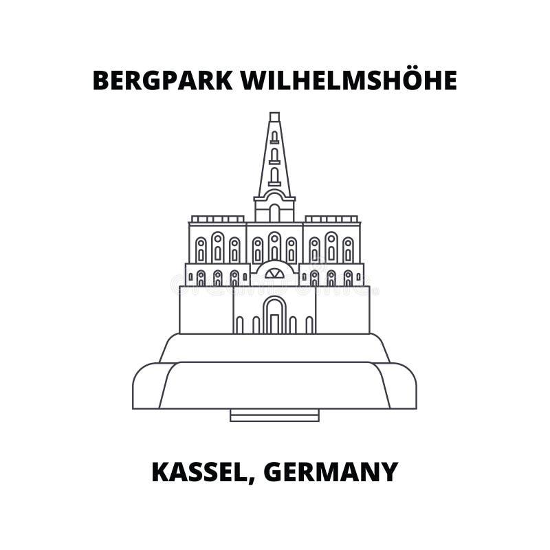 Bergpark Wilhelmshohe, Kassel, Niemcy kreskowa ikona, wektorowa ilustracja Bergpark Wilhelmshohe, Kassel, Niemcy mieszkanie royalty ilustracja