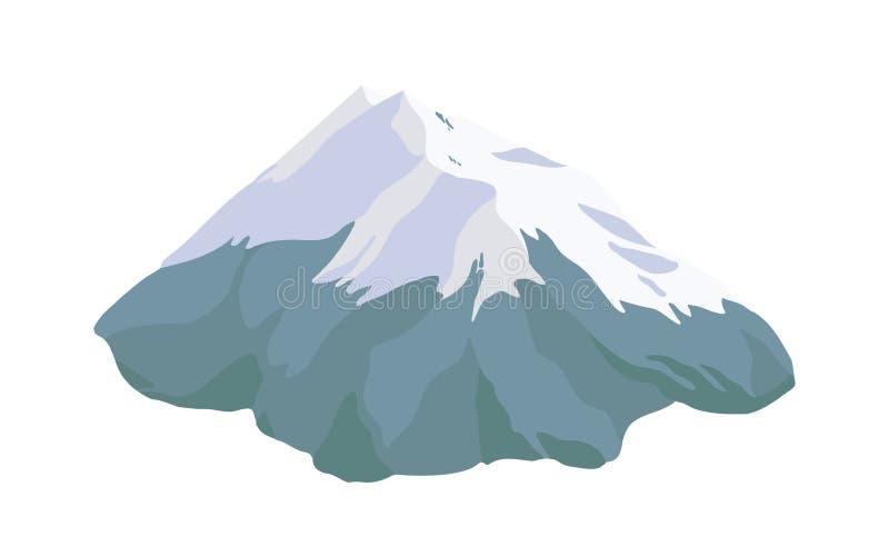 Bergpiek, bovenkant of top met sneeuw, ijs of gletsjer wordt op witte achtergrond wordt geïsoleerd behandeld die De rotsachtige k stock illustratie