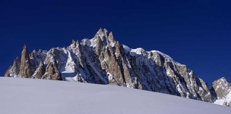 bergpieken van Mont Blanc Massif in de Italiaanse Franse Alpen Diepe blauwe hemel zonder wolken stock afbeelding