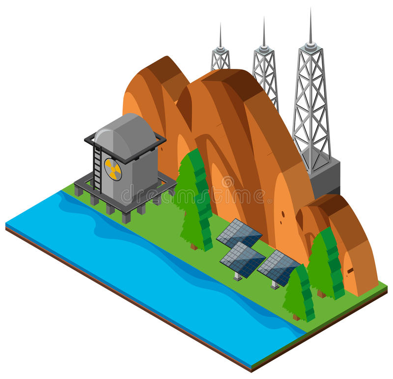 Bergplats med sol- celler stock illustrationer