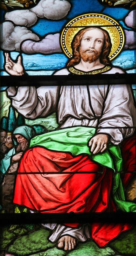 Bergpredigt das Buntglas stockbilder