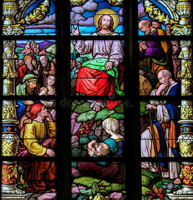 Bergpredigt durch Jesus Christ lizenzfreie stockbilder