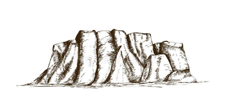 Bergrand of natuurlijke die oriëntatiepunthand in uitstekende gravurestijl wordt getrokken Mooie retro tekening van rotsklip, pla stock illustratie
