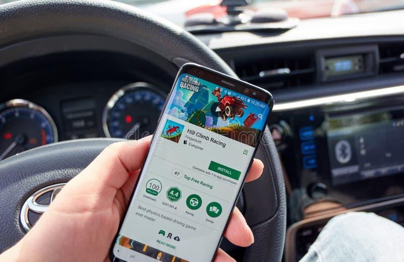 Bergrennen, das Videospiel auf Samsung s8 läuft stockbild