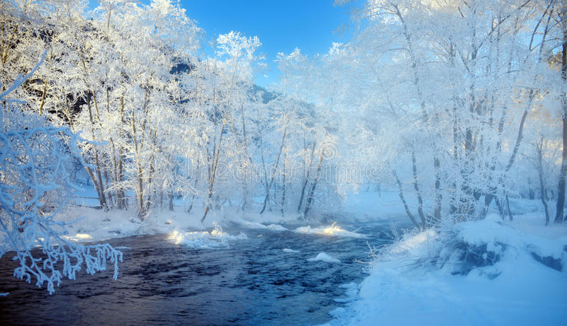 Bergrivier in de winter het morming royalty-vrije stock fotografie