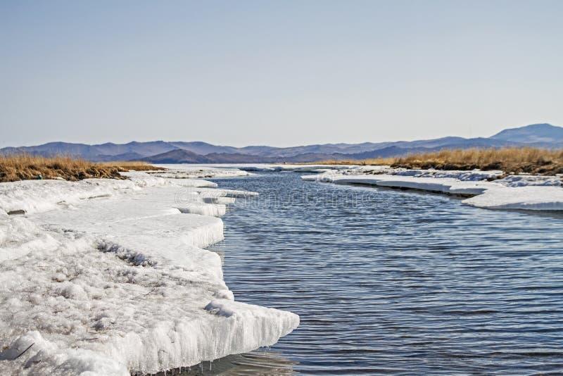 Bergrivier in de winter onder sneeuw, ijskegels en droog gras op Meer Baikal stock afbeelding