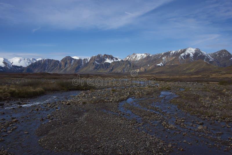 Bergrivier in Laguna DE Laja National Park, Chili royalty-vrije stock foto's