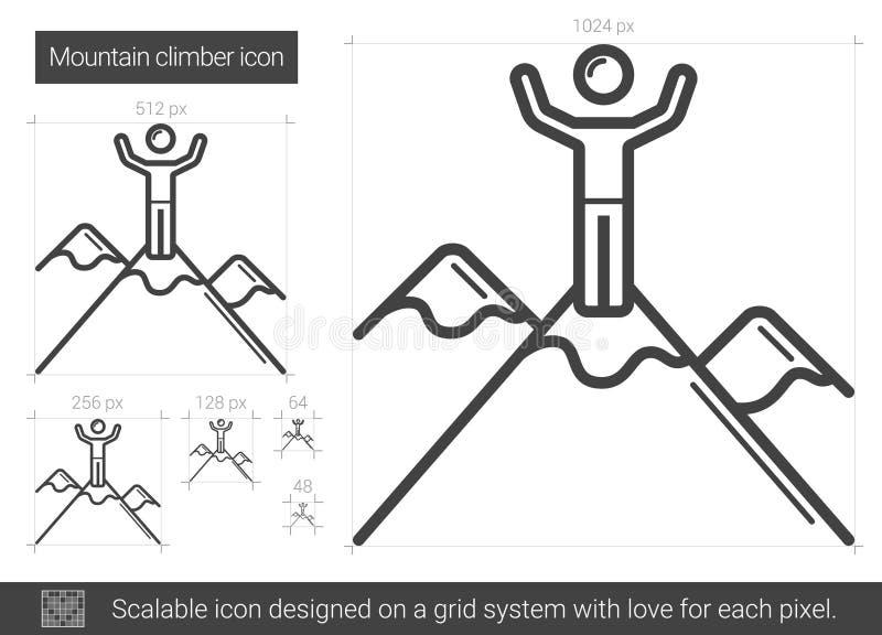 Bergsbestigarelinje symbol stock illustrationer