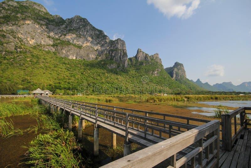 Bergsikt från träbron på nationalparken för Khao sam roi-yod, Prachuap Khiri Khan, Thailand royaltyfria foton