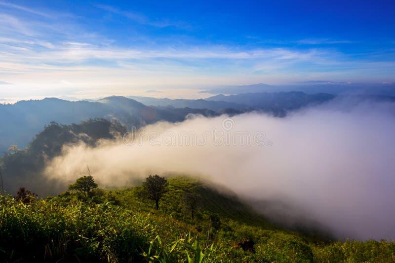 Bergsikt med den dimmiga miljön royaltyfri bild