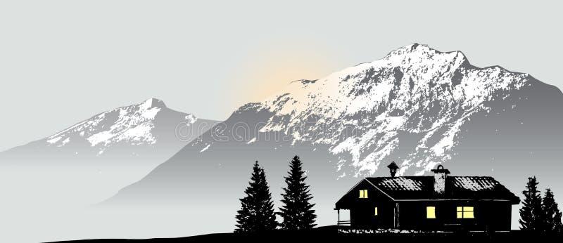 Bergsikt med det ensamma huset royaltyfri illustrationer
