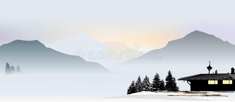 Bergsikt med det ensamma huset Bayersk-stil stock illustrationer