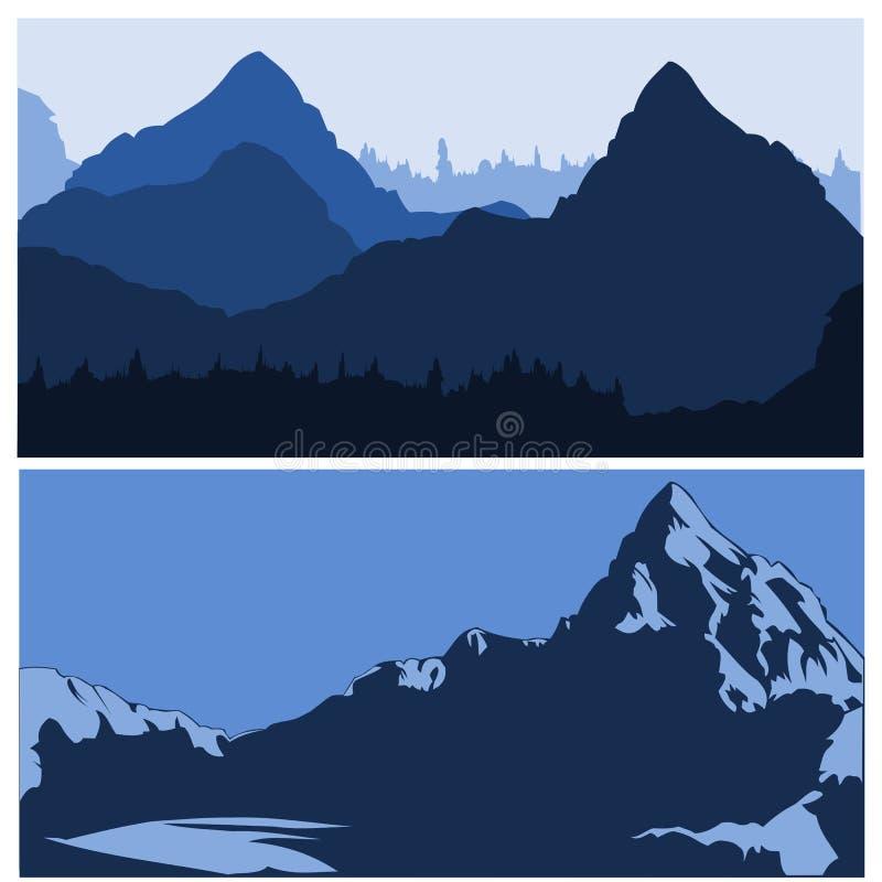 Bergsiluettes stock abbildung