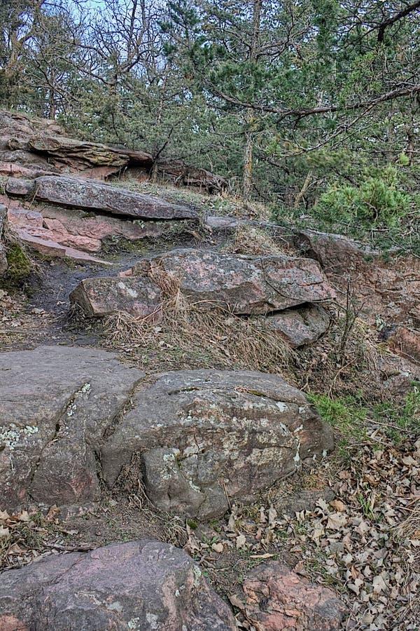 Bergsklyftan för jäkel` s lokaliseras av Garretson, South Dakota och är, var berömt, kriminaliserar Jesse James som across hoppas arkivfoton