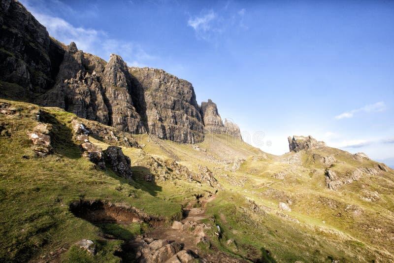 Bergsleep in Schotland, Quiraing stock fotografie