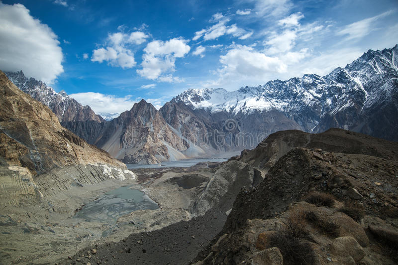 Bergspitze auf dem Weg zu passu Gletscher, Hunza-Tal, Norther stockfoto