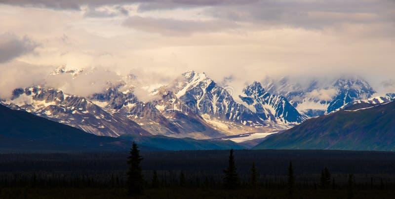 Bergspitzen steigen über die alaskischen Ebenen lizenzfreie stockfotos