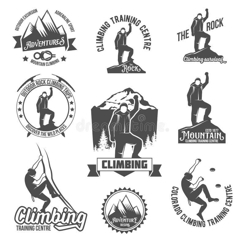 Bergsteigenweinleselogos lizenzfreie abbildung