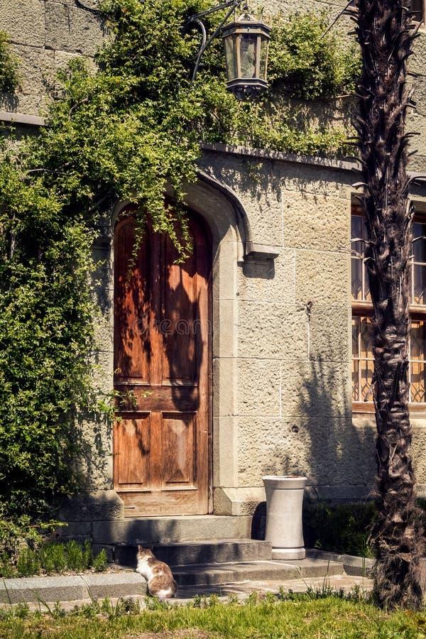 Bergsteiger-Anlage auf Vorontsov-Schlossmauer in Krim lizenzfreie stockbilder