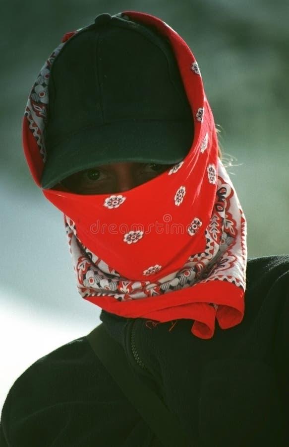 Bergsteiger-Bedeckung-Gesicht von Sun stockfotografie