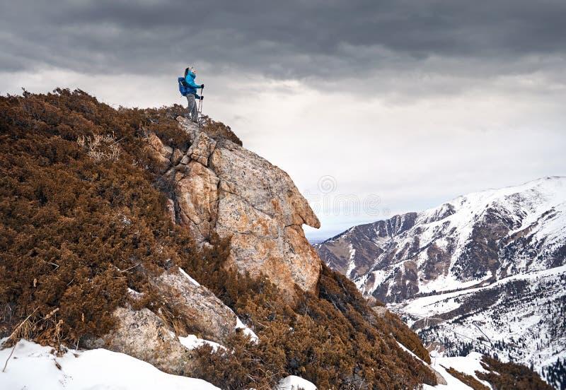 Bergsteiger in den Bergen lizenzfreies stockbild