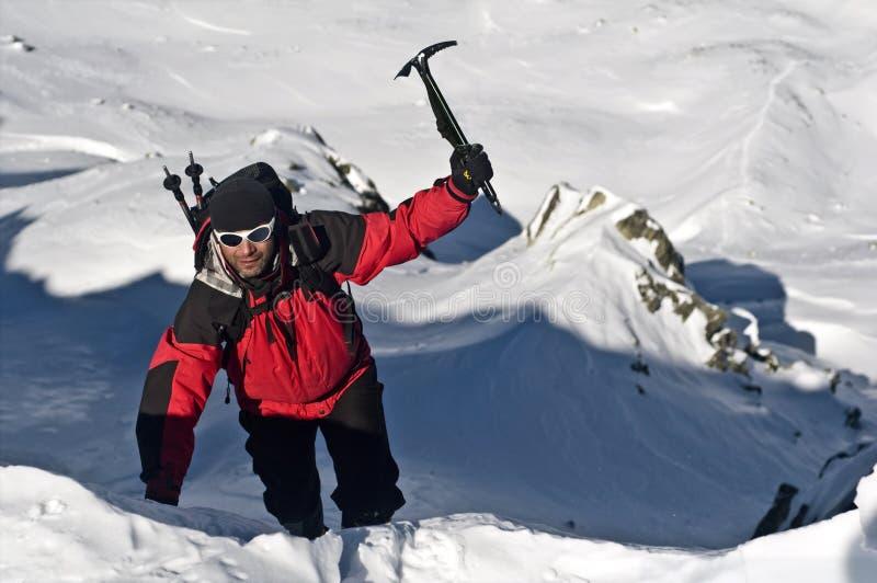 Bergsteiger in der Sonne lizenzfreies stockfoto