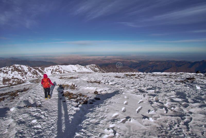 Bergsteiger, der von der Spitze Berges Jebel Toubkal zurückkommt lizenzfreies stockfoto