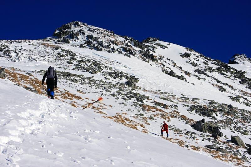 Bergsteiger, die oben der Berg in Retezat-Bergen, Rumänien gehen lizenzfreie stockbilder