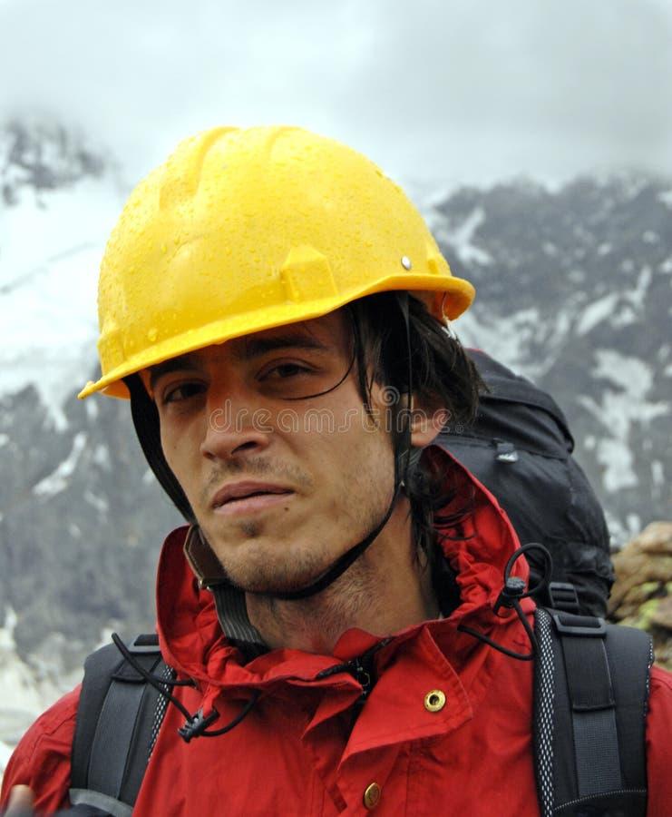 Bergsteigerportrait stockbild