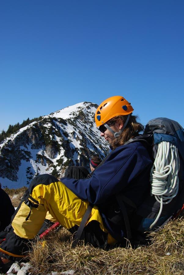 Bergsteigerprofil - Rumänien stockfotografie