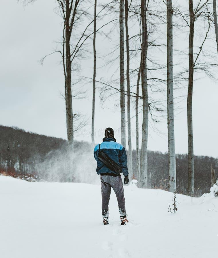 Bergsteigerwanderer strebt die Spitze eines Berges in einem extremen Blizzard an Schneesturm im Wald mit Schnee bedecktem Gelände lizenzfreies stockfoto