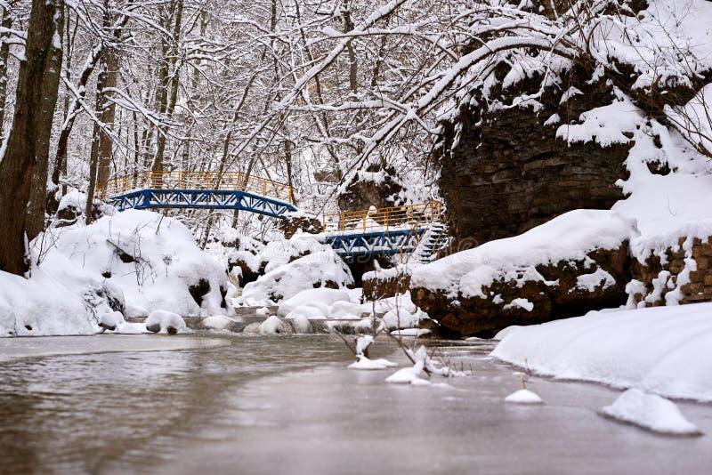 Bergström i vinter fotografering för bildbyråer