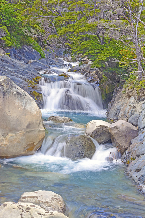Bergstroom in de Patagonian Andes royalty-vrije stock afbeelding