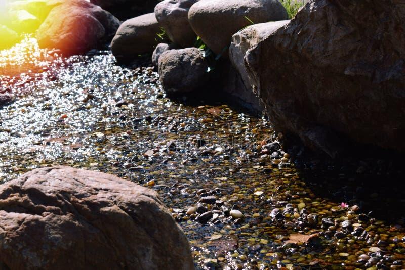 Bergstroom onder de stenen met glashelder water op een de zomer hete dag met stock foto's
