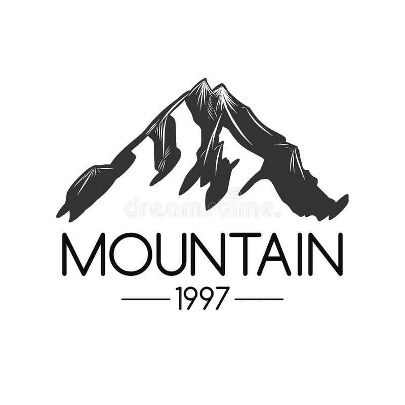 Bergsymbol Monokrom berglogo royaltyfria bilder