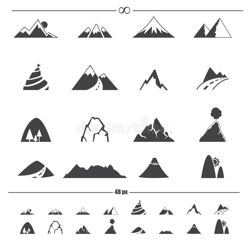 Bergsymbolsvektor stock illustrationer